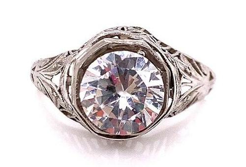Vintage Semi Mount Engagement Ring Platinum Antique Deco Filigree Holds a 1- 1.50ct