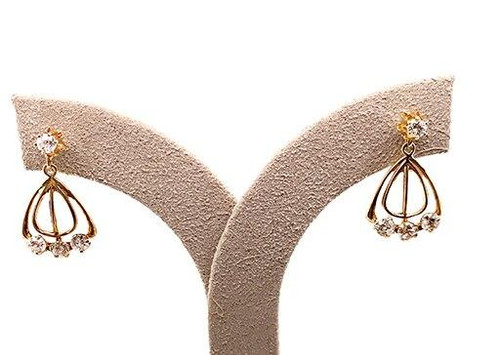 Antique Diamond Dangle Screw Back Earrings .80ct Yellow Gold Victorian Vintage