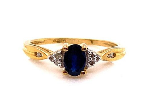 Brand New Sapphire Diamond Engagement Cocktail Ring .60ct Yellow Gold Birthstone
