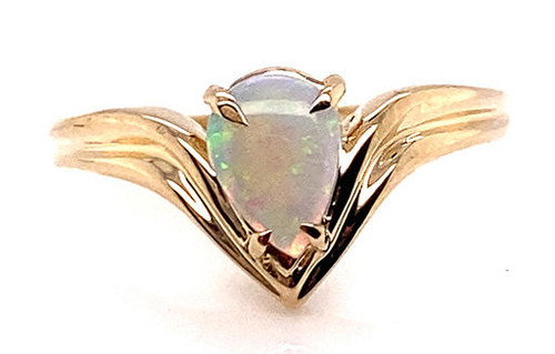 BRAND NEW Fiery Opal Cocktail Statement Ring 14K Yellow Gold Gemstone