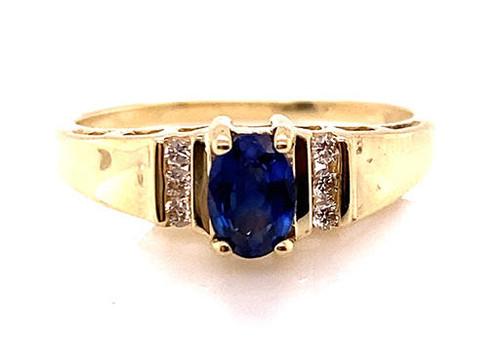 Sapphire Diamond Engagement Cocktail Ring .72ct Yellow Gold Birthstone