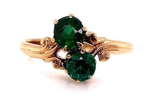 Vintage Emerald 2 Stone Cocktail Statement Ring 1 Carat Antique Art Deco