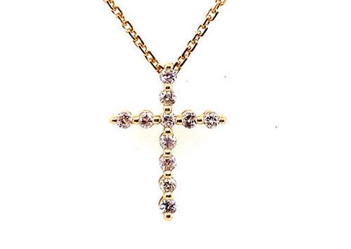 BRAND NEW Diamond Cross Pendant Necklace .25ct 14K Yellow Gold