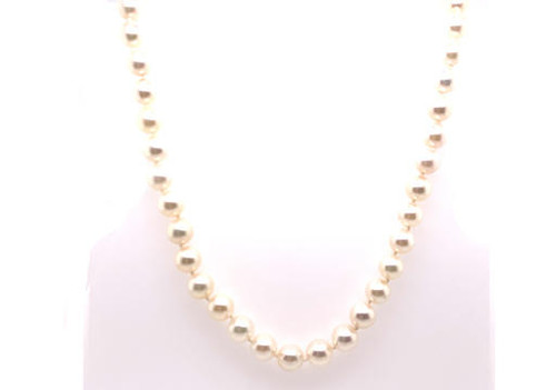 Brand New 6.8mm Pearl 14K Gold 24 Inch Necklace/Strand of Pearls