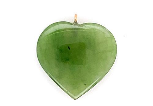 Jade Heart Necklace Pendant 14K Yellow Gold Gemstone Jewelry