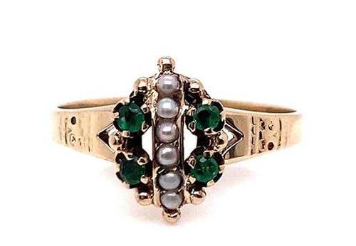 Vintage Emerald Pearl Cocktail Ring 14K Yellow Gold Antique Victorian