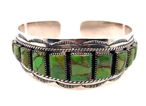 Green Turquoise Gemstone Cuff Bangle Bracelet Sterling Silver