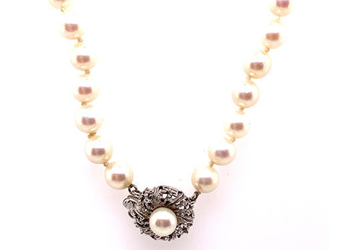 Pearl 14K White Gold 16 Inch Necklace/Strand of Pearls 6.5-7mm Pearls