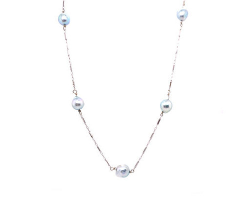 Silver Pearl Necklace/Strand of Pearls 7.5-8.0mm 14K White Gold 38 Inch Long