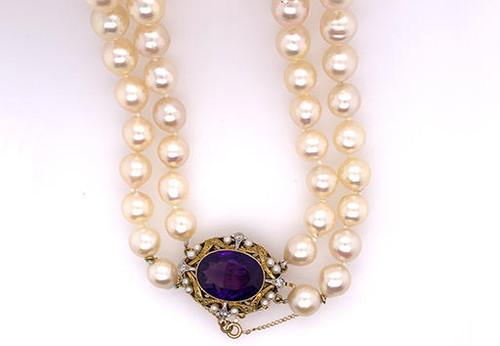 Vintage Amethyst Diamond Pearl Necklace 10.65ct Antique Victorian 14K