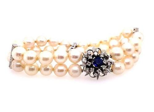 Sapphire Diamond Pearl Double Strand Bracelet 1.50ct 14K White Gold