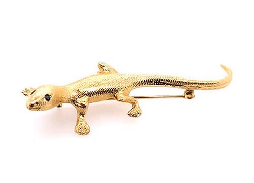 Lizard Gecko Sapphire Pin Brooch 14K Yellow Gold 8.0 Grams