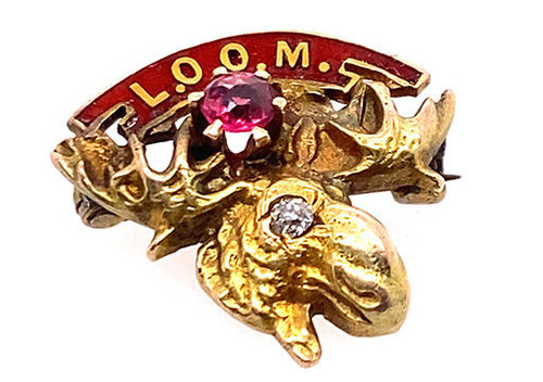 Vintage Loyal Order of the Moose Diamond Ruby Pin Brooch Yellow Gold Victorian