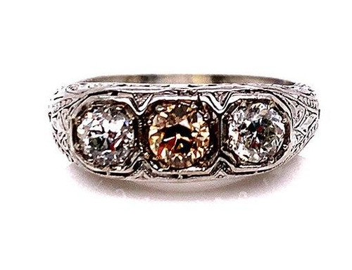 Vintage 3 Stone Red, Pink, Chocolate Diamond Cocktail Ring 1.17ct Old European Art Deco