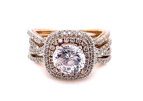 NEW Semi Mount Engagement Ring Wedding Band Set 1ct Diamond 14K White and Rose Gold