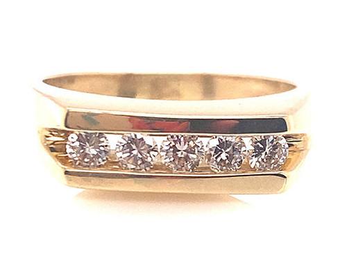 Mens Diamond Wedding Ring Anniversary Band G-H/VS-SI .50ct 14K Yellow Gold