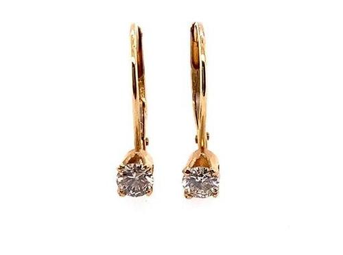 Diamond Earrings 1/3ct Lever Back 14K Yellow Gold G-H/VS-SI