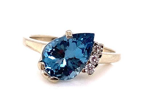 Blue Topaz Diamond Statement Cocktail Ring 3.56ct White Gold Birthstone