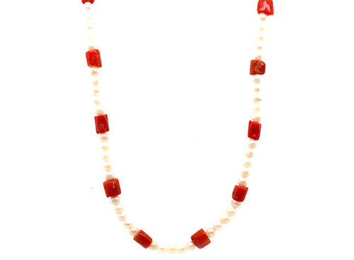 Pearl Coral 17 Inch Necklace/Strand of Pearls 14K White Gold Clasp 3.5mm Pearls