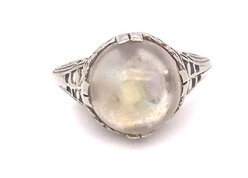 Pieces of Opal Gemstone Cocktail Crystal Ball Ring 18K White Gold Vintage Style