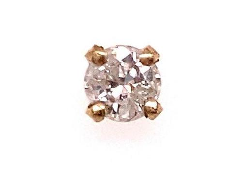 Diamond Single Stud Earring .15ct Round Brilliant 14K Yellow Gold