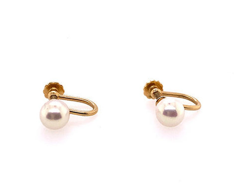 Vintage Pearl Stud Earrings Clip On 14K Yellow Gold 7mm Retro Antique