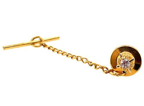 Diamond Tie Tack Pin 14K Yellow Gold F-G/SI Round Brilliant Cut