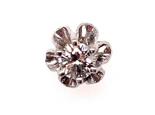 Diamond Single Stud Earring .12ct Round Brilliant 14K White Gold Buttercup
