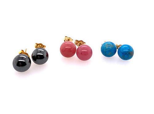 Turquoise Hematite Rhodonite Gemstone Stud Earring Set 14K Yellow Gold
