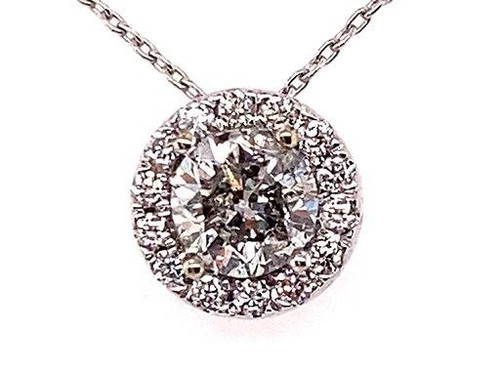 BRAND NEW Diamond Halo Necklace Pendant Chain .90ct Round Brilliant 14K White Gold