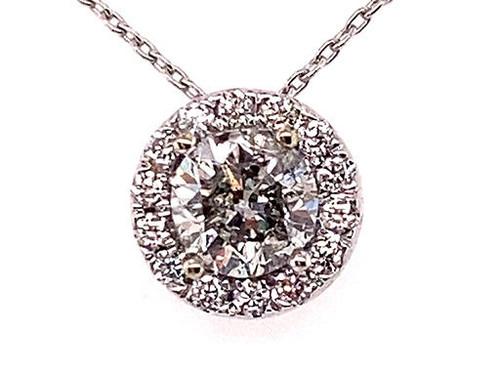 BRAND NEW Diamond Halo Necklace Pendant Chain .90ct Round Brilliant 14K White Gold