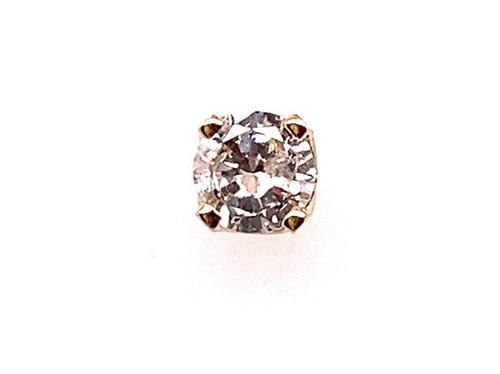 Diamond Single Stud Earring .15ct Round Brilliant 14K Yellow Gold H/SI