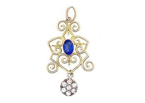 Vintage Sapphire Diamond Lavalier Pendant .95ct Antique Victorian 14K/18K