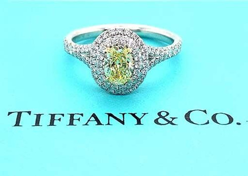 Tiffany and Co Soleste Fancy Intense Yellow Oval .96ct Diamond Engagement Ring