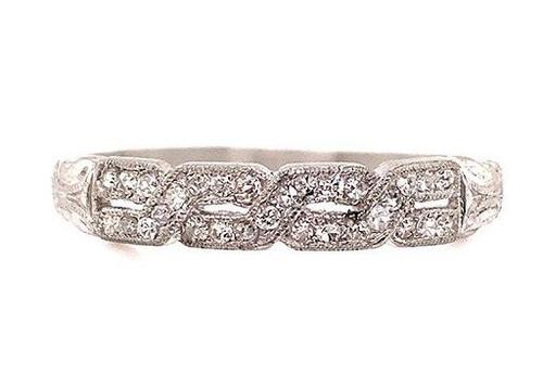 Vintage Diamond Wedding Ring Band .50ct Platinum Antique Art Deco F-G/VVS-VS