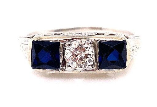Vintage Diamond Sapphire Cocktail 3 Stone Ring French Cut 1ct 18K Deco Antique