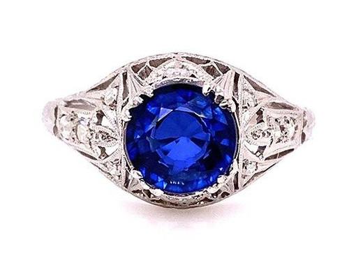 Vintage Sapphire Diamond Engagement Ring 2.05ct Antique Platinum Art Deco