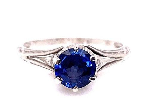 Vintage Sapphire Engagement Ring 1.05ct Solitaire Platinum Antique Edwardian