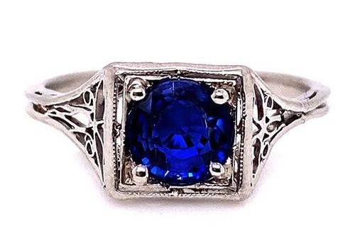 Vintage Sapphire Engagement Ring 1ct Solitaire Platinum Antique Edwardian
