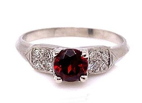 Vintage Antique Garnet Diamond Engagement Ring .75ct Platinum Art Deco Birthstone