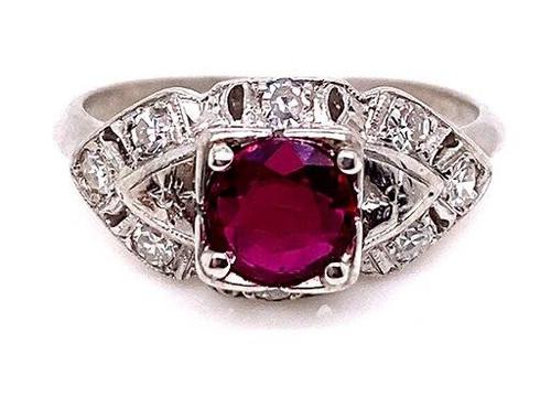 Vintage Ruby Diamond Engagement Cocktail Ring .95ct Platinum Antique Art Deco