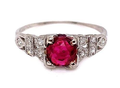 Vintage Ruby Diamond Cocktail Engagement Ring 1ct Deco Platinum Antique