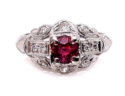 Vintage Ruby Diamond Cocktail Engagement Ring .70ct D-F/VVS Platinum Antique Deco