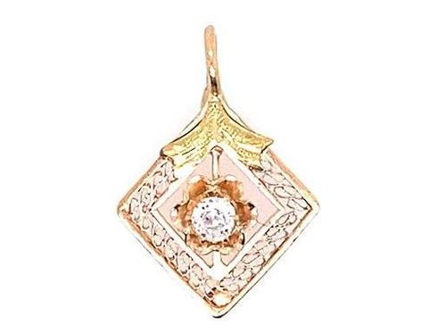 Vintage Diamond Pendant Necklace Old Mine Cut 14K Yellow Gold Antique Victorian