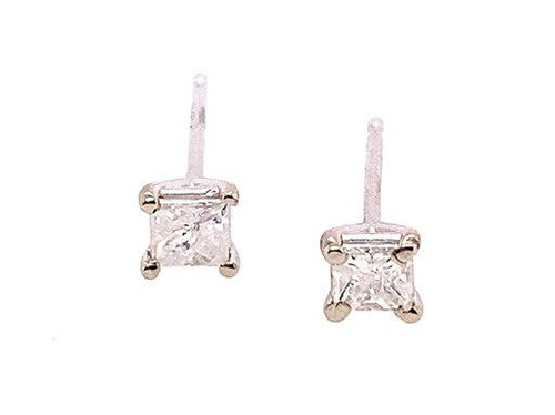 Brand New Diamond Princess Cut Stud Earrings .40 Carat G-H 14K White Gold
