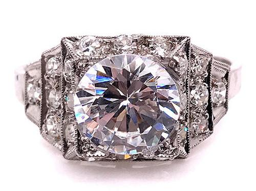 Vintage Diamond Semi Mount Engagement Ring .50ct Platinum Antique Edwardian