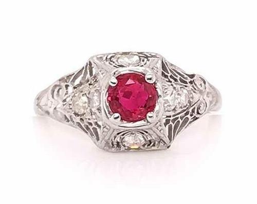 Vintage Antique Ruby Diamond Engagement Ring .70ct Platinum Art Deco
