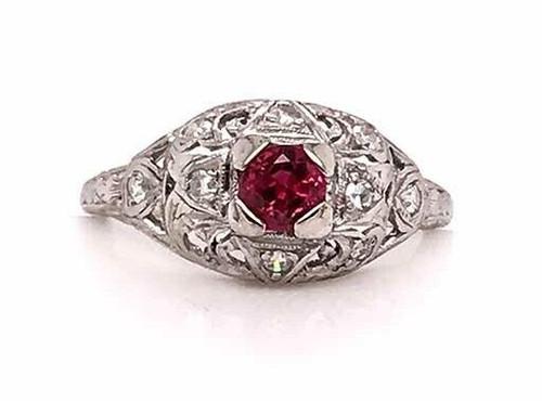 Vintage Antique Ruby Diamond Engagement Ring .70ct Platinum Art Deco Garland