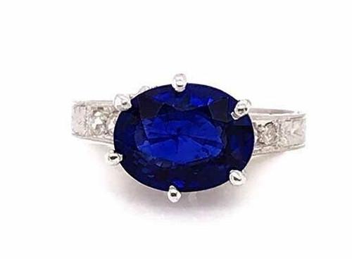 Vintage Antique Sapphire Diamond Engagement Ring 2.40ct Platinum Edwardian