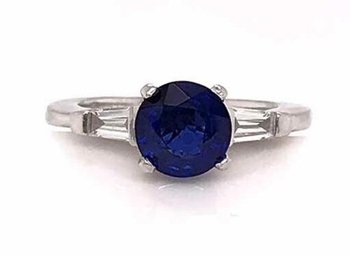 Vintage Sapphire Diamond Engagement Ring 2ct Platinum Antique Art Deco